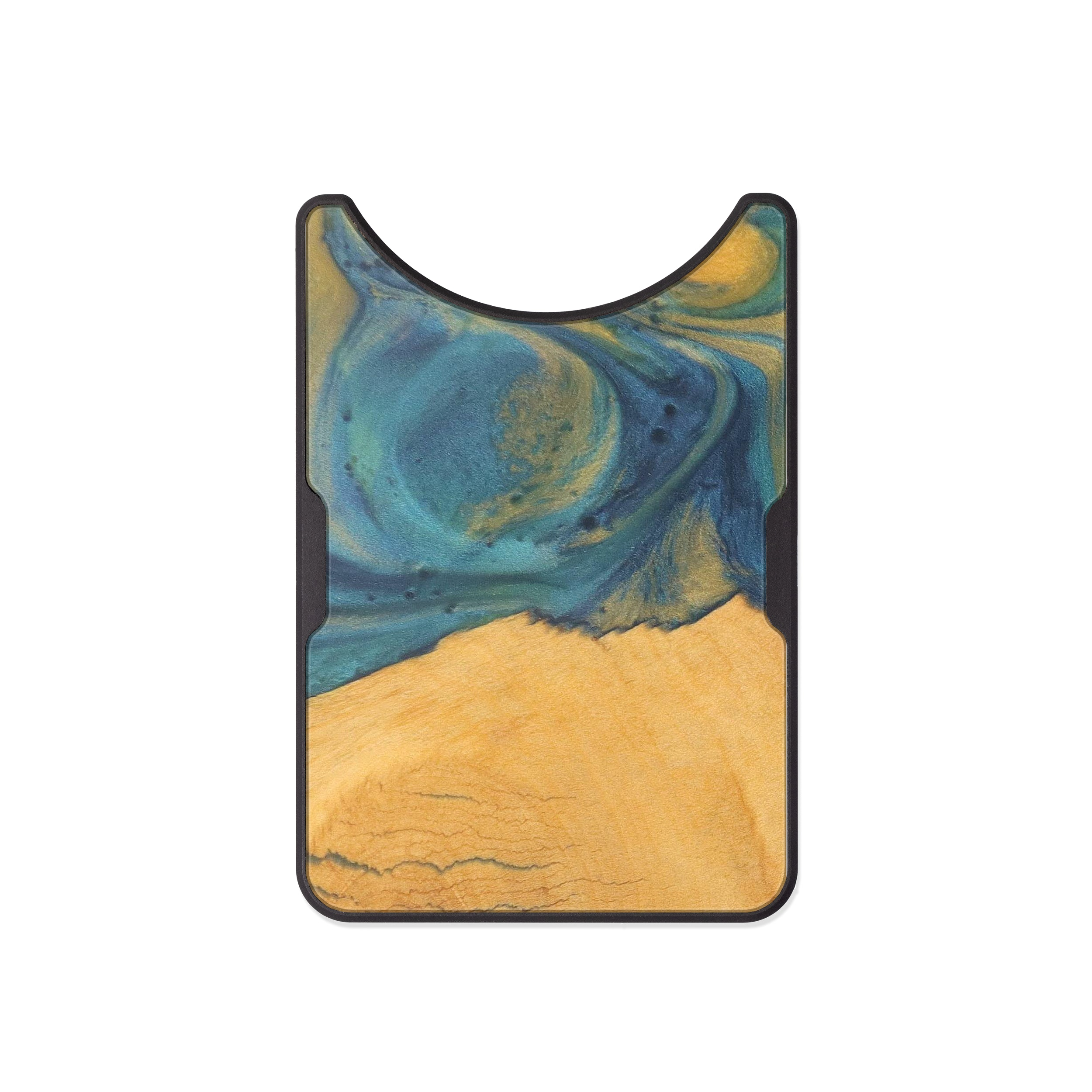 Alloy Wood+Resin Wallet - Frederica (Teal & Gold, 473184)